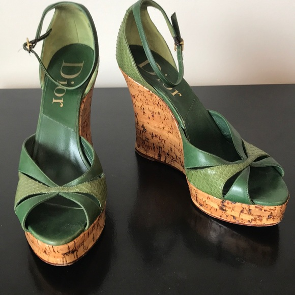 487646dcef4 Dior Green Python Ankle Strap Cork Wedges